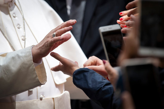 Vatican City - MAY 29, 2019: Pope Francis meets with faithful at the end of his weekly general audience in St. Peter's Square at the Vatican.