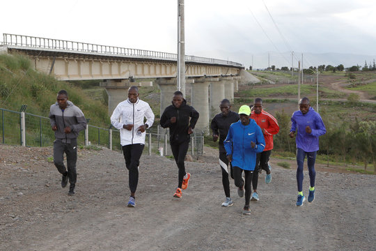 Timothy Cheruiyot winner of the 1500 meters gold medal at the 2019 World Athletics Championships in Doha, takes part in a training run near the Rongai Athletics club in Kajiado county