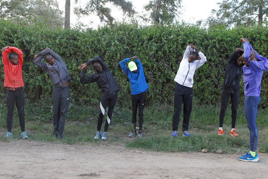 Timothy Cheruiyot winner of the 1500 meters gold medal at the 2019 World Athletics Championships in Doha, prepares for an evening run at Rongai Athletics club in Kajiado county