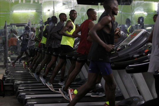 Timothy Cheruiyot winner of the 1500 meters gold medal at the 2019 World Athletics Championships in Doha, runs on the treadmill during a gym session at the Rongai Athletics club in Kajiado county