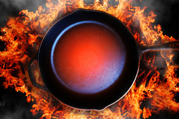 Pan on open fire. Flat view. Concept of stylish cooking, barbecue catering or hot special proposition, discounts and sales