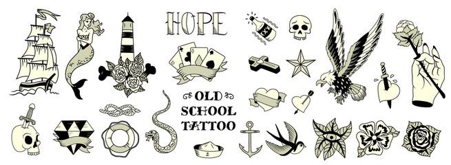 Tattoo Black White Set