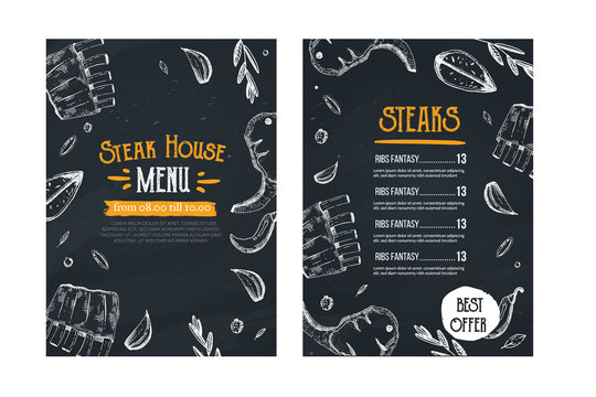 Steak menu, restaurant template on chalkboard. Blackboard poster with sketch icons with ribs, meat