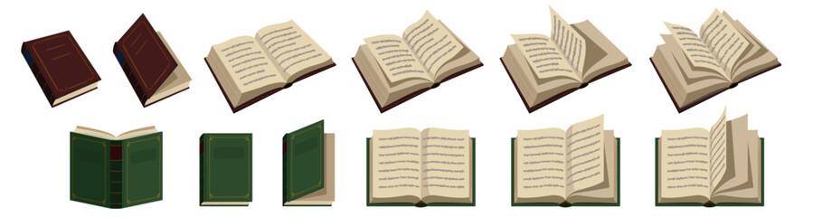 開いた本と閉じた本のベクターイラストレーション。背景は白。文字に特定の意味は無く、取り外し可能。