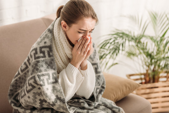 sick woman sneezing in napkin while sitting on sofa and wrapping in blanket