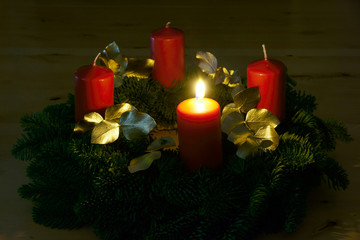 First Advent, Advent wreath with one burning candle, copy space