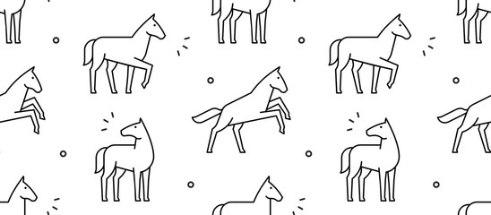 Seamless pattern with Horses. isolated on white background