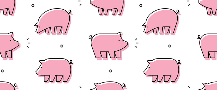 Seamless pattern with Pigs. isolated on white background
