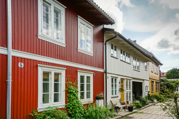 Kampen neighbourhood colorful wooden houses in Oslo, Norway. Traditional Norwegian Architecture. Fototapete