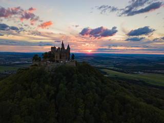 Aerial view of Hohenzollern castle during sunset. Germany in the summer