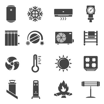 Heating system black glyph vector icons set