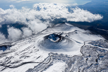 Aerial view of the snowy hills of Mount Etna. Sicily Island Italy