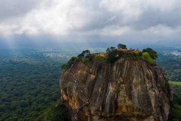 Aerial view of Sigiriya mountain among the dense forest on the island of Sri Lanka