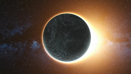 Wall Mural - Bright solar Eclipse caused by a Lunar event with Ring of Fire. Perfect for videos about: solar events, eclipse, astronomy, moon, sun, science. FHD. 3D Render. Elements of this image furnished by NASA