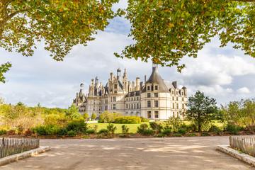 Chateau de Chambord side view in Loire valley, Centre Valle de Loire in France