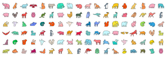Linear collection of colored Animal icons. Animal icons set. Isolated on White background