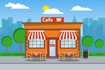 Cafeteria, cafeteria building with free tables. Cafeteria on the background of the urban landscape. Vector illustration of a beach