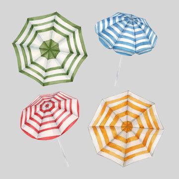 Beautiful vector watercolor set with beach sun umbrellas. Ready summer print for swimwear fabric.