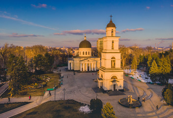Poster Oost Europa Chisinau, Moldova, 2019. Cathedral Orthodox church located in the center of the city. Aerial view