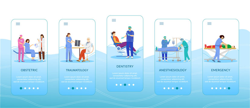Medicine and healthcare onboarding mobile app screen template. Obstetric, traumatology, dentistry, anesthesiology. Walkthrough website steps with characters. UX, UI, GUI smartphone cartoon interface