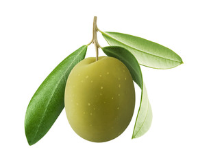 One green olive with leaves isolated on white background