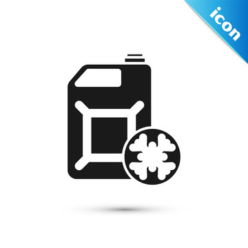 Black Antifreeze canister icon isolated on white background. Auto service. Car repair. Vector Illustration