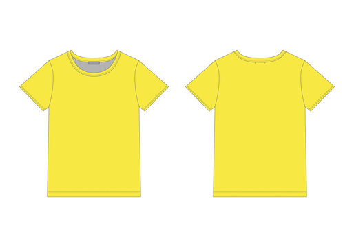 Technical sketch men t shirt in yellow colors. Unisex underwear top design template.