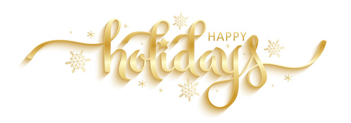 HAPPY HOLIDAYS gold vector brush calligraphy banner with snowflakes Fotomurales
