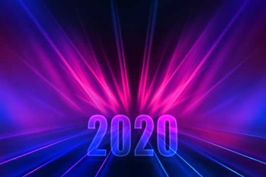 Text 2020 on a dark abstract background. Neon reflection of light. 2020 New Year holidays design template for greeting cards and christmas invitations.