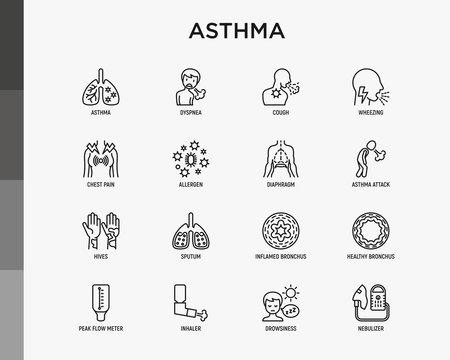Asthma thin line icons set: allergen, dyspnea, cough, wheezing, chest pain, diaphragm, asthma attack, hives, sputum, peak flow meter, inhaler, nebulizer. Modern vector illustration.