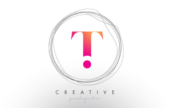 Artistic T Letter Logo Design With Creative Circular Wire Frame around it