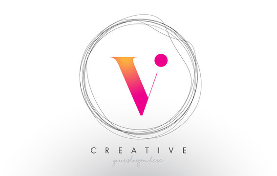 Artistic V Letter Logo Design With Creative Circular Wire Frame around it