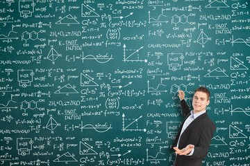 Man teacher with algebra background blackboard board business calculations