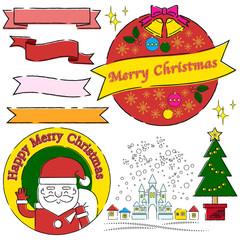 クリスマス 手書き風線画 ラベル等セット