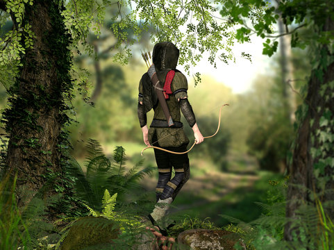 A hooded hunter with bow and arrows walks through a forest