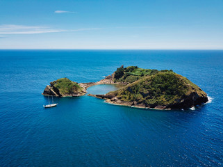 Azores aerial panoramic view of Princess Rind Islet of Vila Franca do Campo. Sao Miguel island, Azores, Portugal.