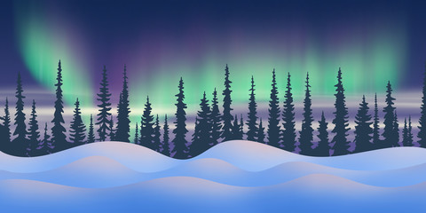 Fantasy on the theme of the northern landscape. Night and polar lights. Forest and snowdrifts. Vector illustration, EPS10