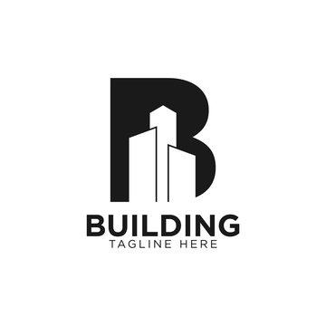 Letter B building logo design. Creative minimalism logotype icon symbol. eps10
