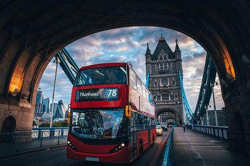 Photo on textile frame London red bus Red double decker bus at the Tower Bridge in London