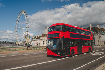 Poster London red bus Iconic red double decker bus in London, UK. The London Bus is one of London's principal icons, the archetypal red rear-entrance Routemaster recognised worldwide.