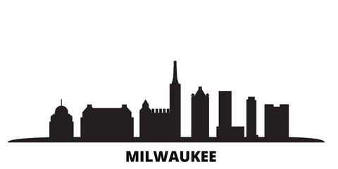 United States, Milwaukee City city skyline isolated vector illustration. United States, Milwaukee City travel cityscape with landmarks