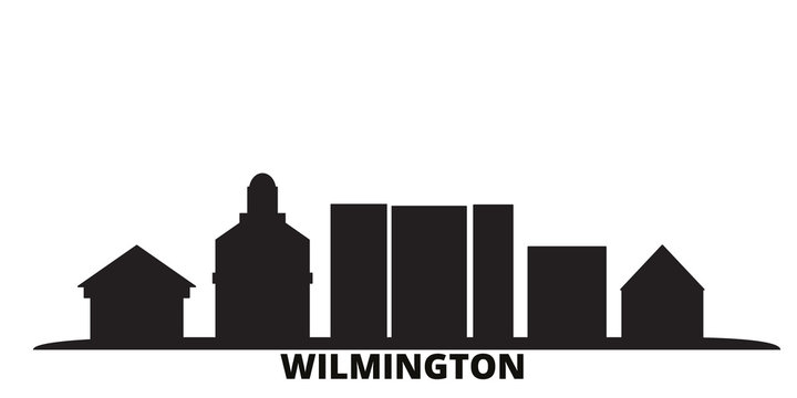 United States, Wilmington city skyline isolated vector illustration. United States, Wilmington travel cityscape with landmarks