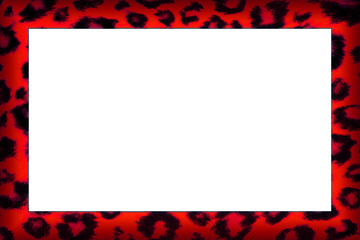Colourful red leopard print border frame
