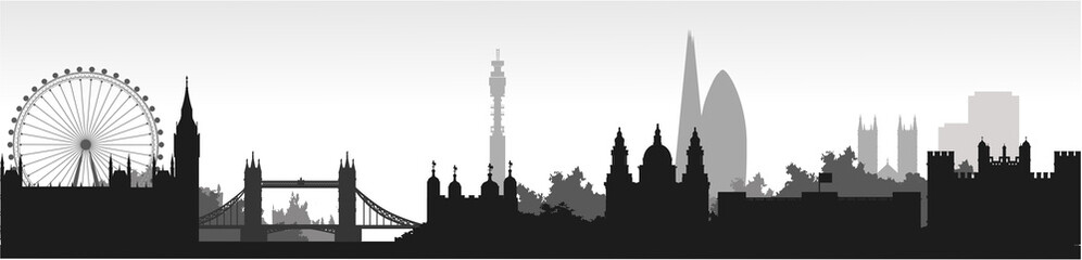 Panorama of London flat style vector illustration. Istanbul architecture. Cartoon London symbols and objects. London city skyline vector background. Flat trendy illustration. Fototapete