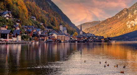Wonderful Colorful Sunset at Hallstatt. view of famous Hallstatt mountain village with Hallstatter See in the Austrian Alps, region of Salzkammergut, Austria. popylar touristic location