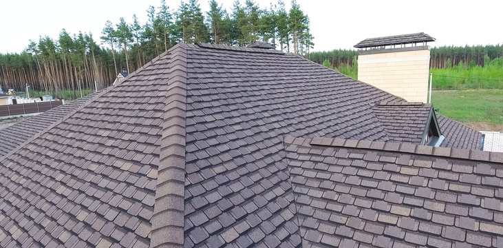 Bituminous tile for a roof. House with a roof from a bituminous tile. a roof from a bituminous tile. Moder