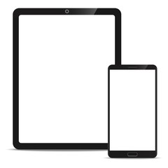 Mobile Mock up set of Tablet and Smartphone realistic style mockup device set icons for user interface applications and responsive mobile web design with a blank screen.