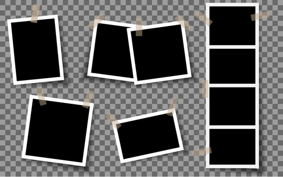 Realistic photo frames. Vintage empty photos frame with adhesive tapes. White blank square old card for photograph memories vector template. EPS 10