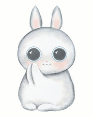 White kawaii cartoon cute little rabbit with big eyes isolated on white background. Watercolor hand drawn illustration