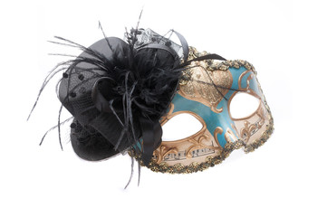 Blue venetian theatre mask with musical notes and gold decorations with a black lace hat isolated on white background